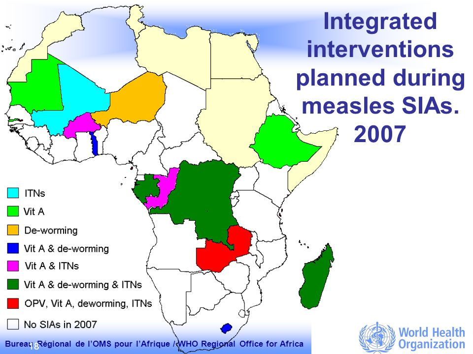 Bureau Régional de lOMS pour lAfrique / WHO Regional Office for Africa 18 Integrated interventions planned during measles SIAs.