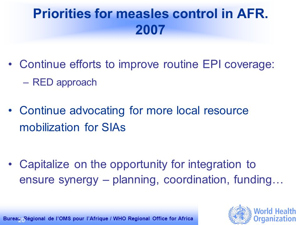 Bureau Régional de lOMS pour lAfrique / WHO Regional Office for Africa 20 Priorities for measles control in AFR.