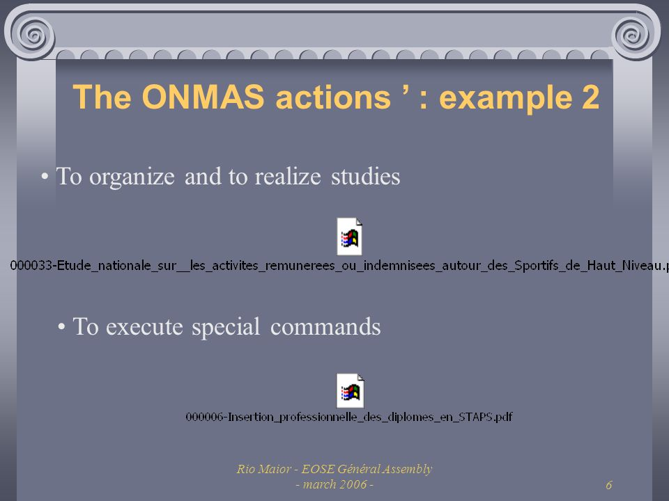 Rio Maior - EOSE Général Assembly - march The ONMAS actions : example 2 To organize and to realize studies To execute special commands