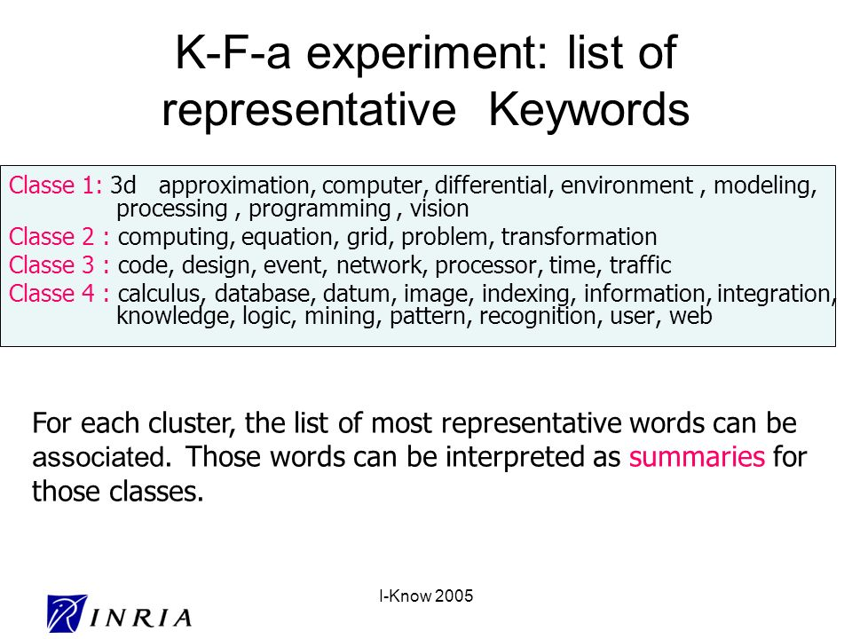 I-Know 2005 K-F-a experiment: list of representative Keywords Classe 1: 3d approximation, computer, differential, environment, modeling, processing, programming, vision Classe 2 : computing, equation, grid, problem, transformation Classe 3 : code, design, event, network, processor, time, traffic Classe 4 : calculus, database, datum, image, indexing, information, integration, knowledge, logic, mining, pattern, recognition, user, web For each cluster, the list of most representative words can be associated.
