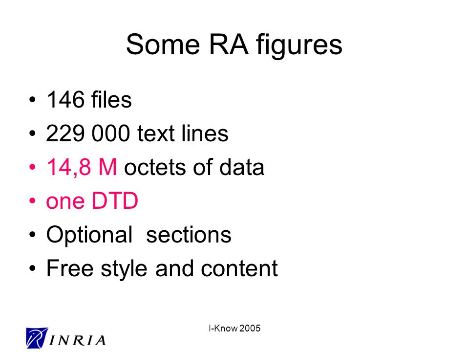 I-Know 2005 Some RA figures 146 files 229 000 text lines 14,8 M octets of data one DTD Optional sections Free style and content