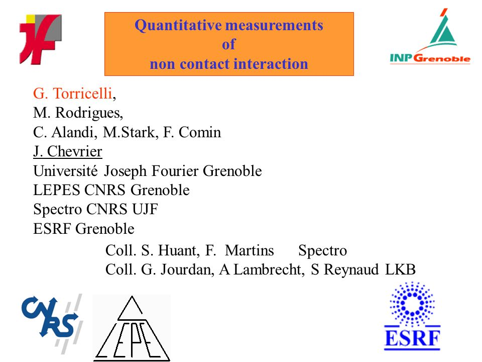 Quantitative measurements of non contact interaction G.