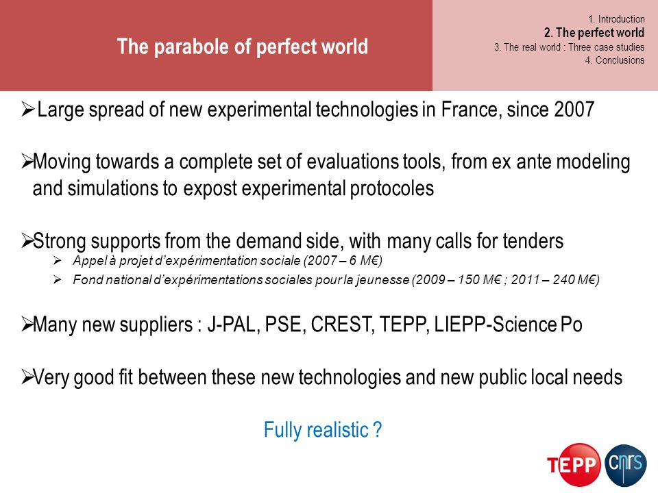 The parabole of perfect world 1. Les métiers de demain 2.