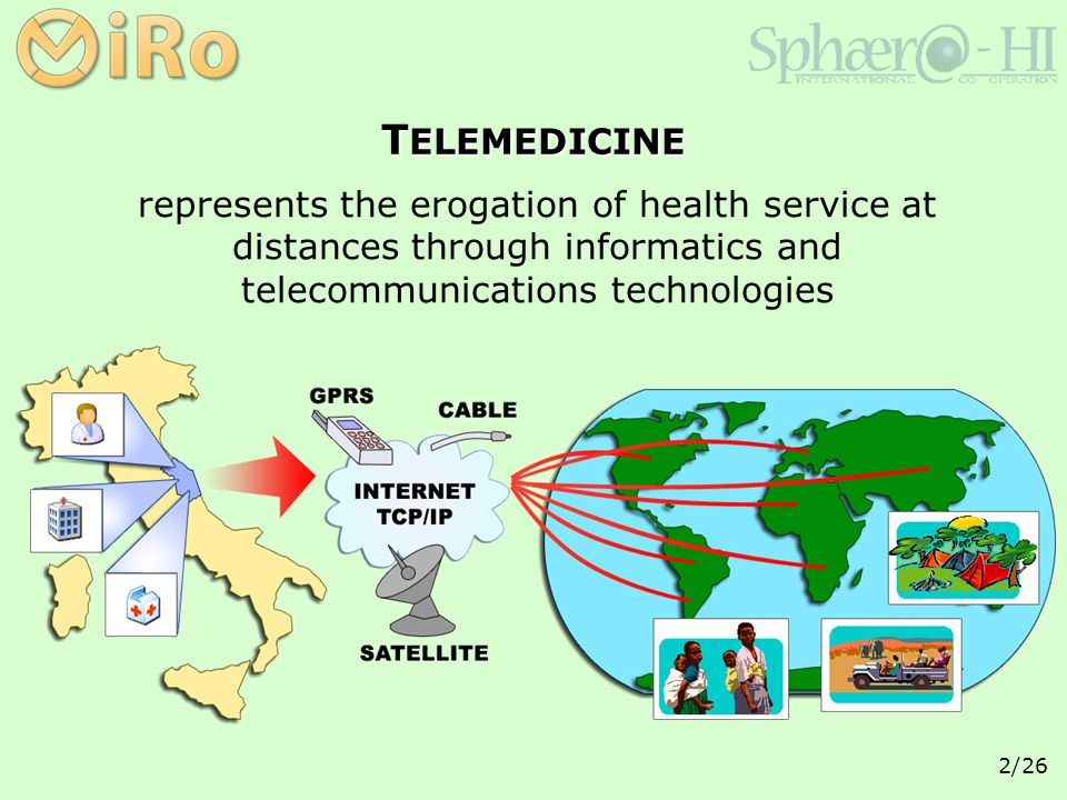 2/26 represents the erogation of health service at distances through informatics and telecommunications technologies T ELEMEDICINE