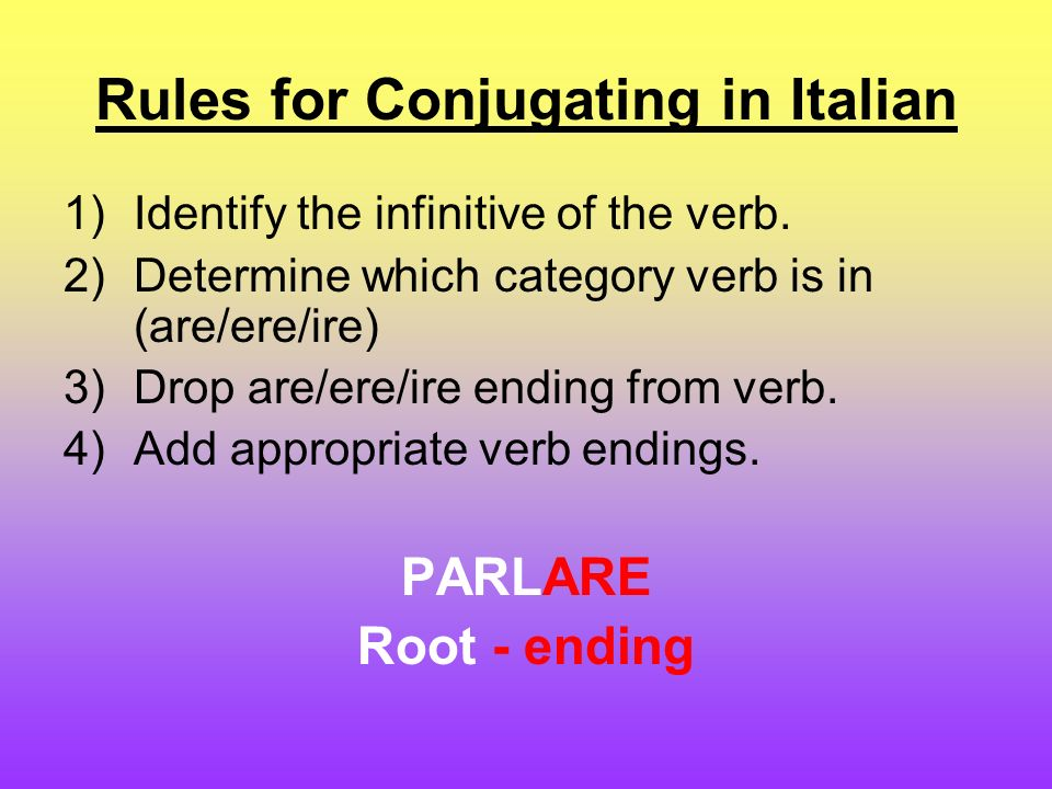 Rules for Conjugating in Italian 1)Identify the infinitive of the verb.