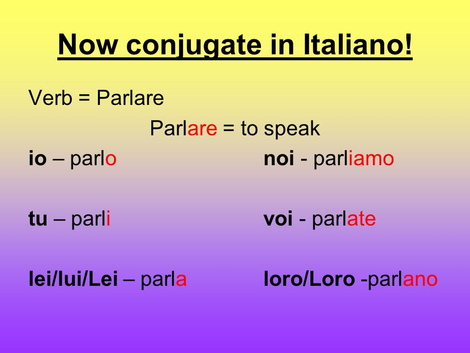 Now conjugate in Italiano.