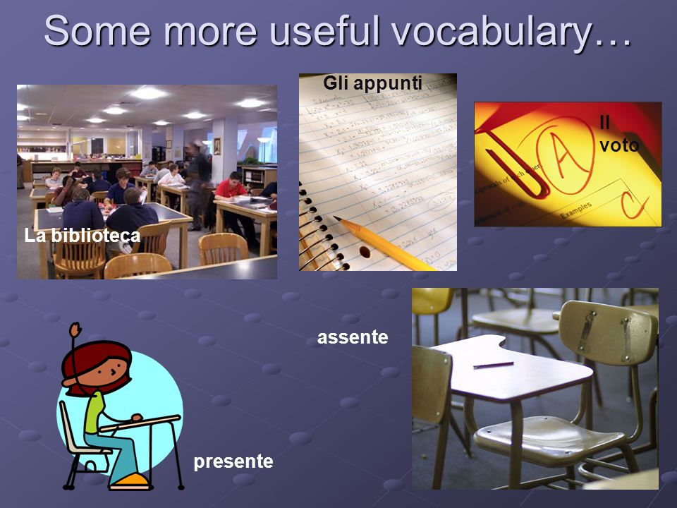 Some more useful vocabulary… Gli appunti presente Il voto assente La biblioteca