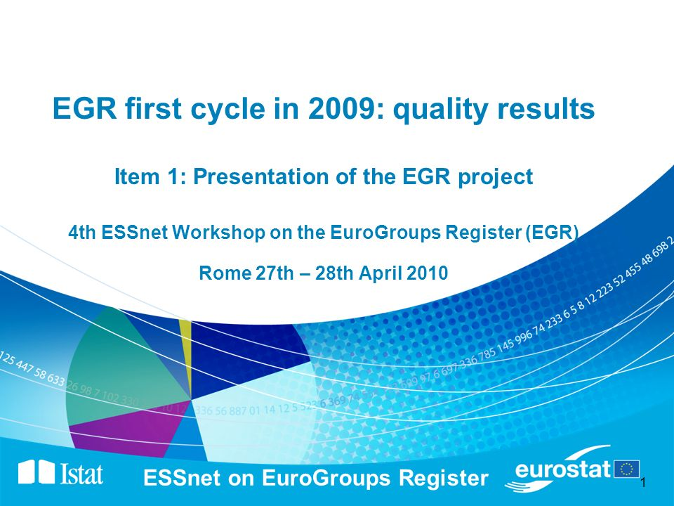 1 ESSnet on EuroGroups Register EGR first cycle in 2009: quality results Item 1: Presentation of the EGR project 4th ESSnet Workshop on the EuroGroups Register (EGR) Rome 27th – 28th April 2010