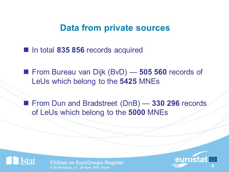 4 ESSnet on EuroGroups Register EGR Workshop, April 2010, Rome Data from private sources In total records acquired From Bureau van Dijk (BvD) records of LeUs which belong to the 5425 MNEs From Dun and Bradstreet (DnB) records of LeUs which belong to the 5000 MNEs