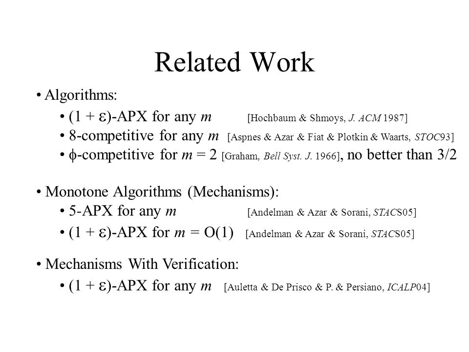 Related Work Algorithms: (1 + )-APX for any m [Hochbaum & Shmoys, J.