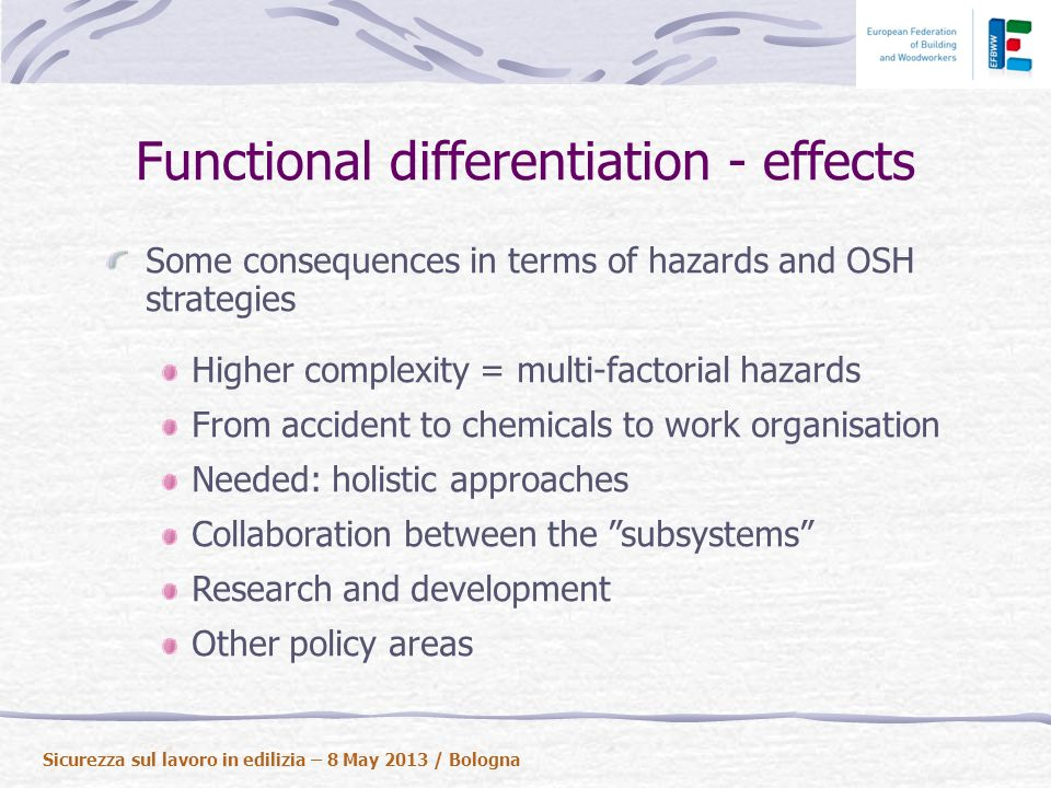 Functional differentiation - effects Some consequences in terms of hazards and OSH strategies Higher complexity = multi-factorial hazards From accident to chemicals to work organisation Needed: holistic approaches Collaboration between the subsystems Research and development Other policy areas Sicurezza sul lavoro in edilizia – 8 May 2013 / Bologna