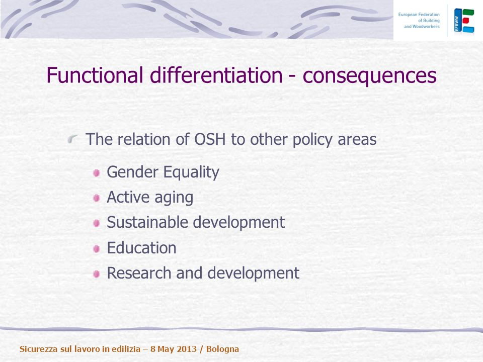 The relation of OSH to other policy areas Gender Equality Active aging Sustainable development Education Research and development Sicurezza sul lavoro in edilizia – 8 May 2013 / Bologna Functional differentiation - consequences