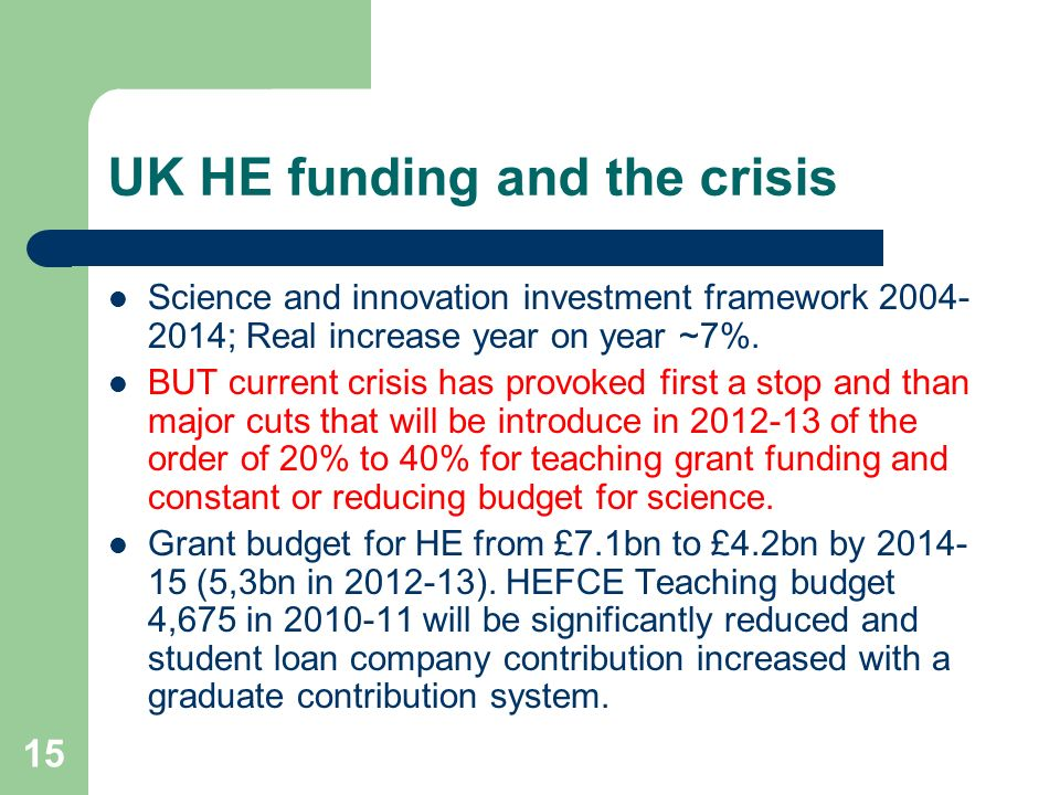 UK HE funding and the crisis Science and innovation investment framework ; Real increase year on year ~7%.