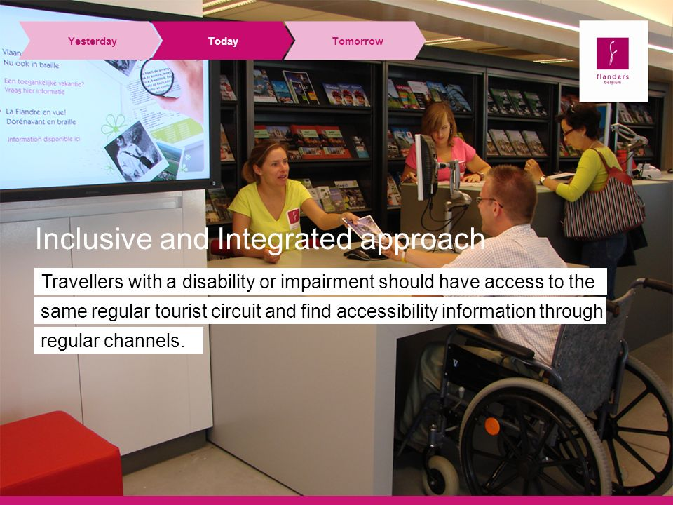 YesterdayTodayTomorrow Travellers with a disability or impairment should have access to the same regular tourist circuit and find accessibility information through regular channels.