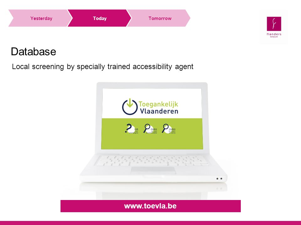 Local screening by specially trained accessibility agent Database YesterdayTodayTomorrow