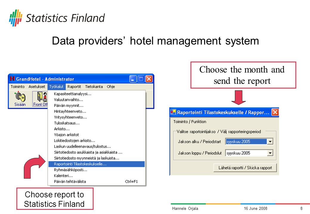 16 June 20087Hannele Orjala Automated data collection in accommodation statistics Data is delivered directly from hotel management systems into our database No manual work needed (except to initiate the transfer) Software vendors implement a module for the hotels management software Use of Statistics Finlands definitions for data and service interface Technique: XML Web Services After reception, data is submitted to the standard validation process