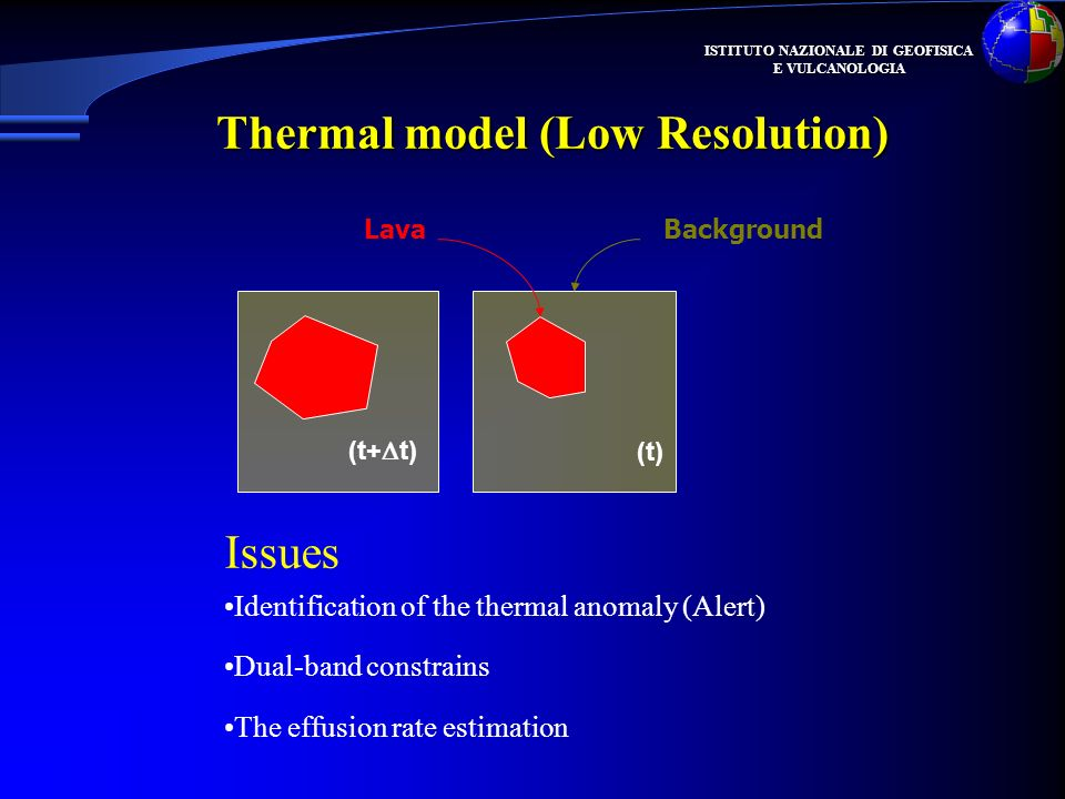 ISTITUTO NAZIONALE DI GEOFISICA E VULCANOLOGIA (t+ t) (t) LavaBackground Thermal model (Low Resolution) Identification of the thermal anomaly (Alert) Dual-band constrains The effusion rate estimation Issues