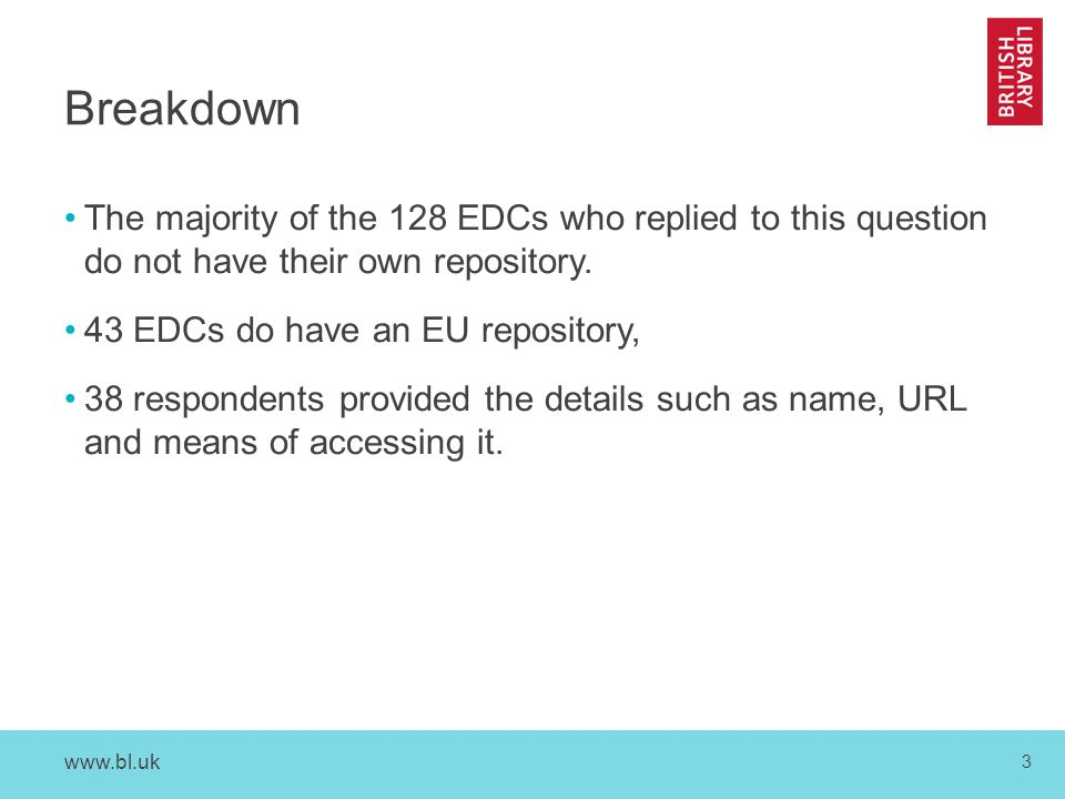 3 Breakdown The majority of the 128 EDCs who replied to this question do not have their own repository.