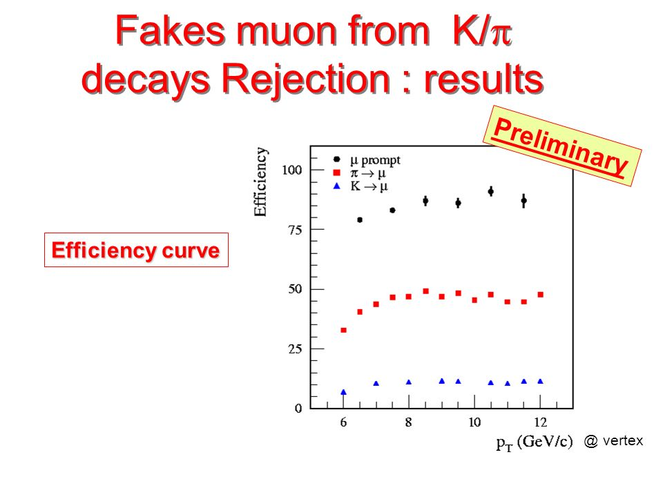 Efficiency curve Preliminary @ vertex Fakes muon from K/ decays Rejection : results
