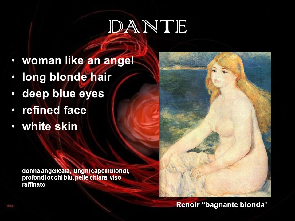 DANTE woman like an angel long blonde hair deep blue eyes refined face white skin donna angelicata, lunghi capelli biondi, profondi occhi blu, pelle chiara, viso raffinato Renoir bagnante bionda