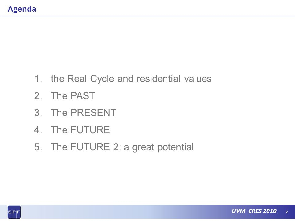 UVM ERES 2010 Agenda 1.the Real Cycle and residential values 2.The PAST 3.The PRESENT 4.The FUTURE 5.The FUTURE 2: a great potential 2