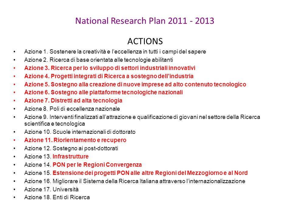 National Research Plan ACTIONS Azione 1.