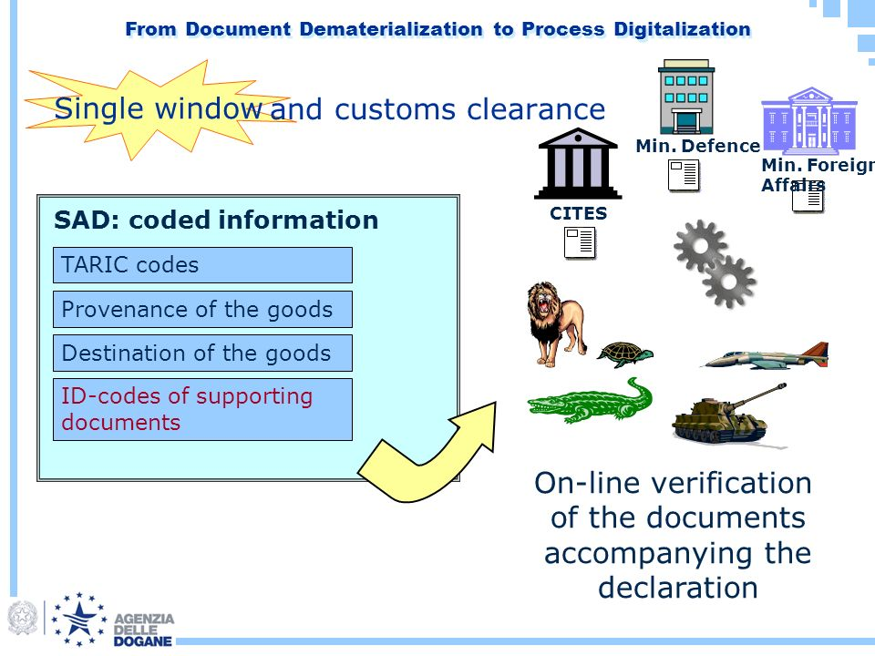 SAD: coded information ID-codes of supporting documents TARIC codes Provenance of the goods Destination of the goods On-line verification of the documents accompanying the declaration Min.