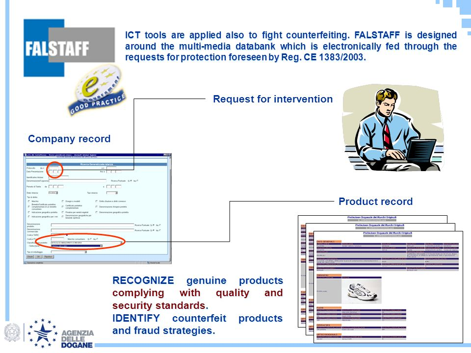 Company record Product record Request for intervention RECOGNIZE genuine products complying with quality and security standards.