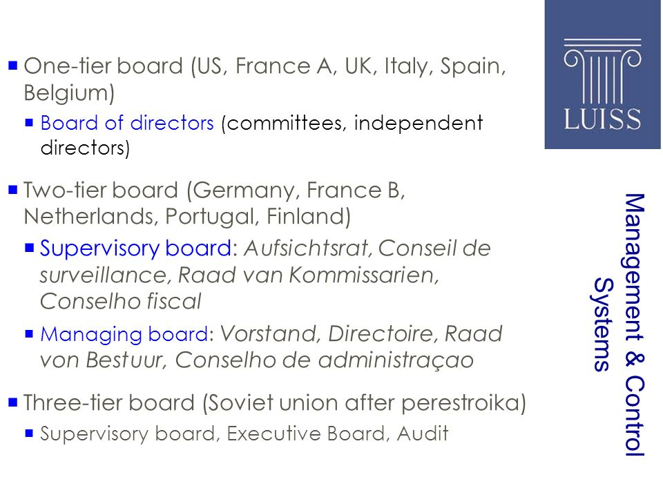 Management & Control Systems One-tier board (US, France A, UK, Italy, Spain, Belgium) Board of directors (committees, independent directors) Two-tier board (Germany, France B, Netherlands, Portugal, Finland) Supervisory board: Aufsichtsrat, Conseil de surveillance, Raad van Kommissarien, Conselho fiscal Managing board: Vorstand, Directoire, Raad von Bestuur, Conselho de administraçao Three-tier board (Soviet union after perestroika) Supervisory board, Executive Board, Audit