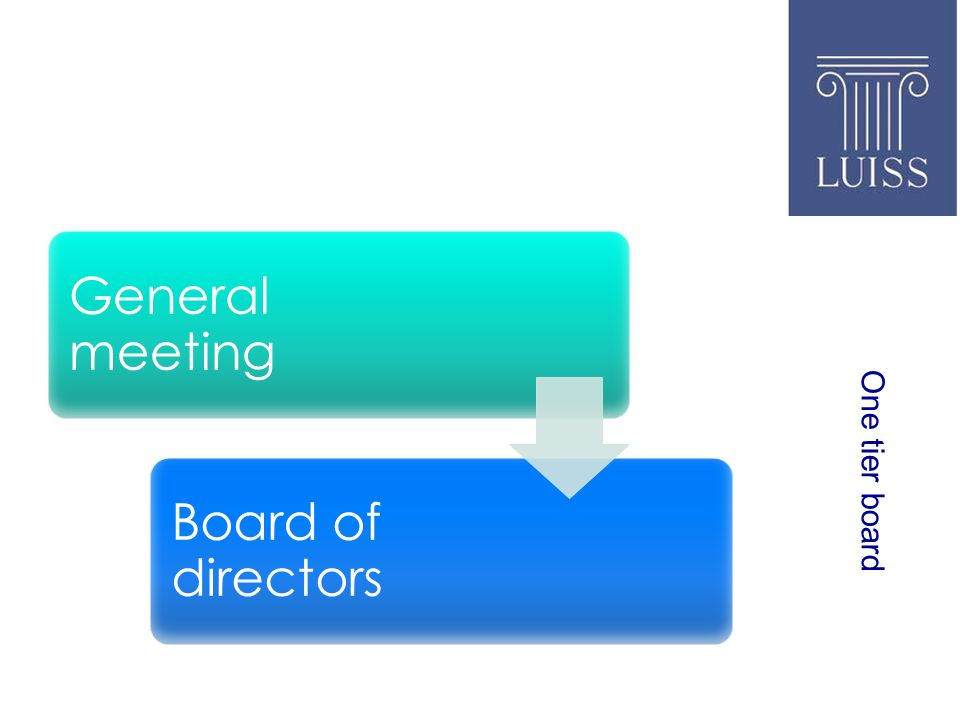 One tier board General meeting Board of directors