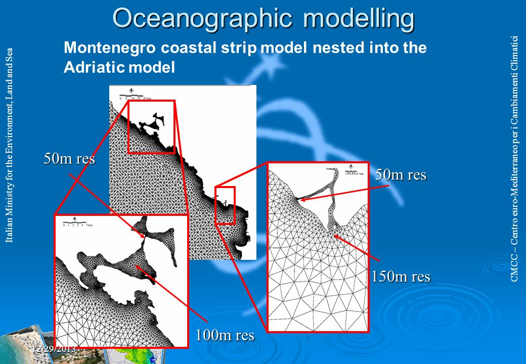 CMCC – Centro euro-Mediterraneo per i Cambiamenti Climatici Italian Ministry for the Environment, Land and Sea 150m res 50m res 100m res 50m res Montenegro coastal strip model nested into the Adriatic model Oceanographic modelling 12/29/2013