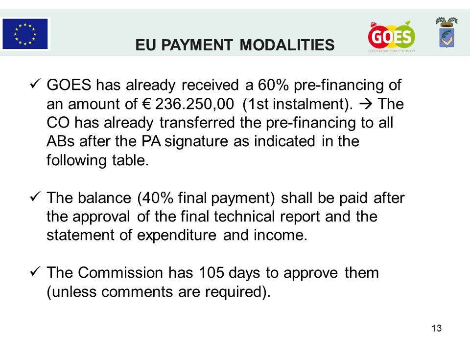 13 GOES has already received a 60% pre-financing of an amount of ,00 (1st instalment).