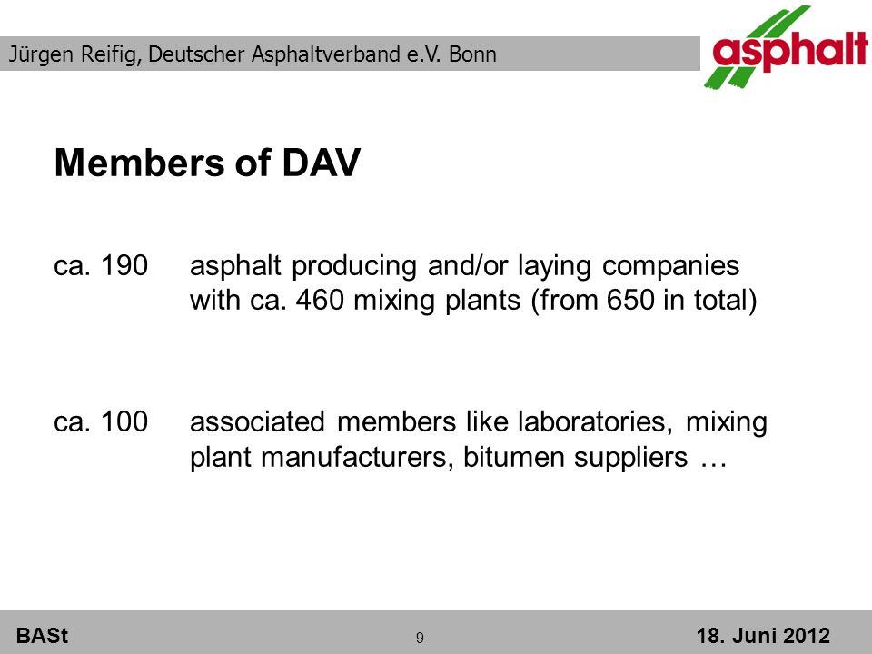BASt Juni 2012 Members of DAV ca. 190asphalt producing and/or laying companies with ca.