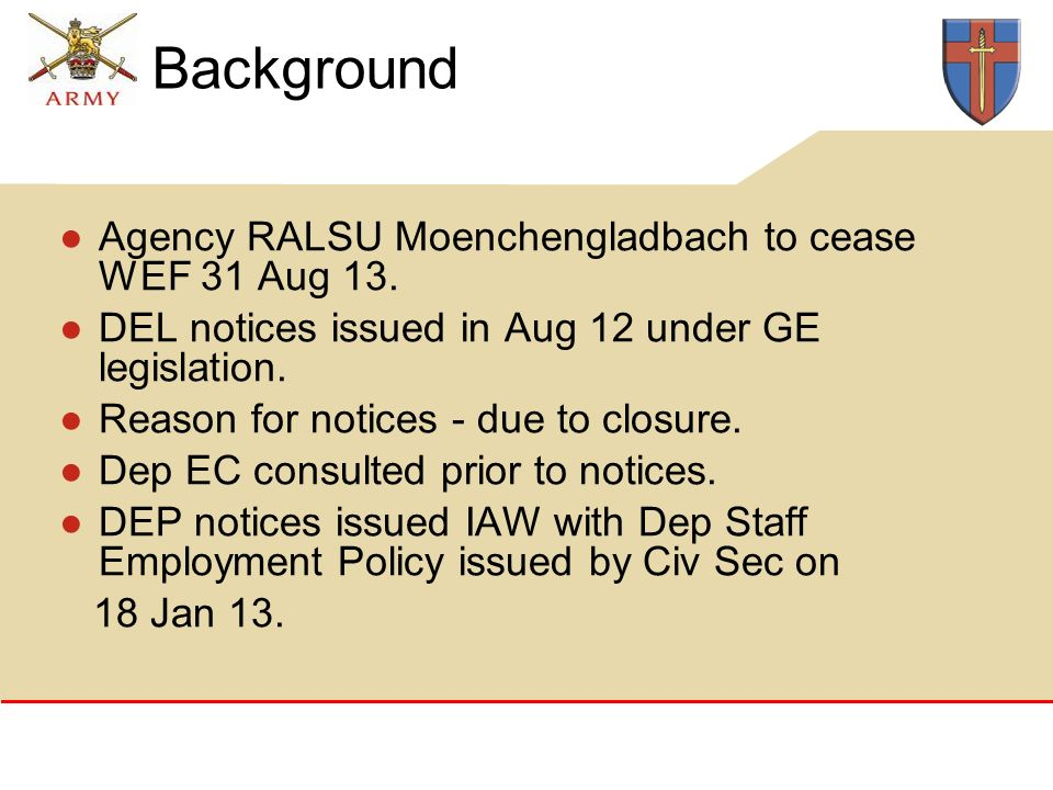 Background Agency RALSU Moenchengladbach to cease WEF 31 Aug 13.