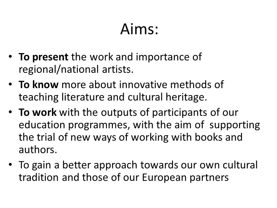 Aims: To present the work and importance of regional/national artists.