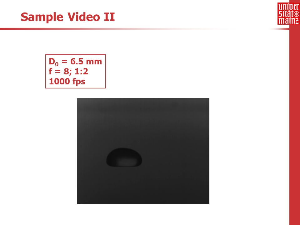 Sample Video II D 0 = 6.5 mm f = 8; 1:2 1000 fps