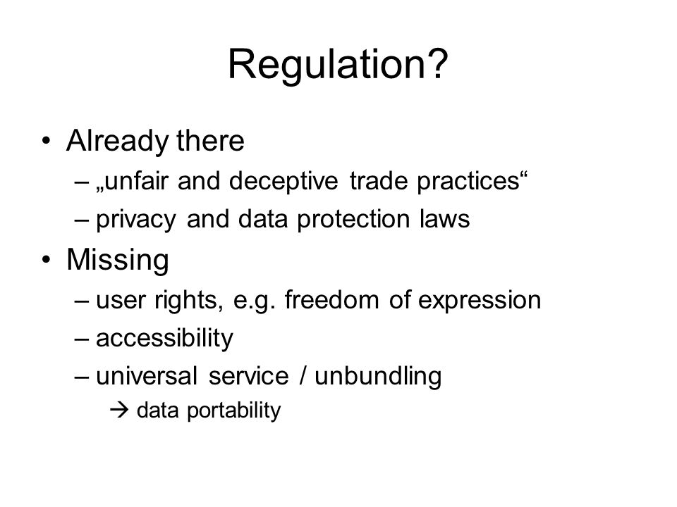 Regulation.