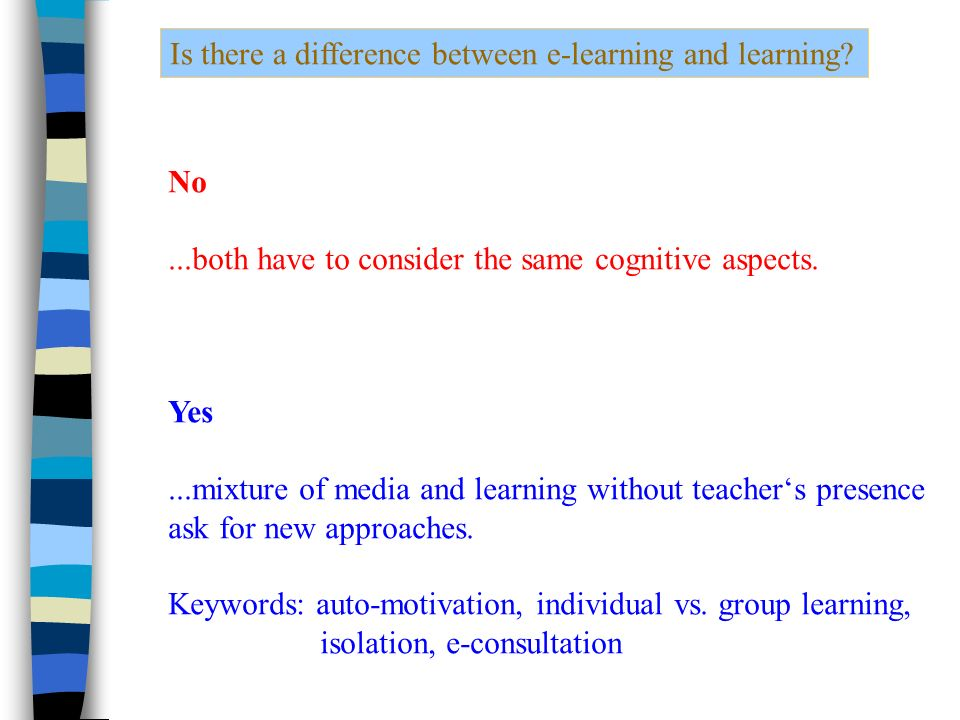 Is there a difference between e-learning and learning.
