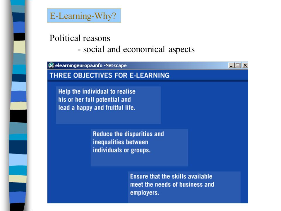 E-Learning-Why Political reasons - social and economical aspects