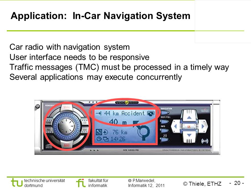 - 20 - technische universität dortmund fakultät für informatik P.Marwedel, Informatik 12, 2011 Application: In-Car Navigation System Car radio with navigation system User interface needs to be responsive Traffic messages (TMC) must be processed in a timely way Several applications may execute concurrently © Thiele, ETHZ