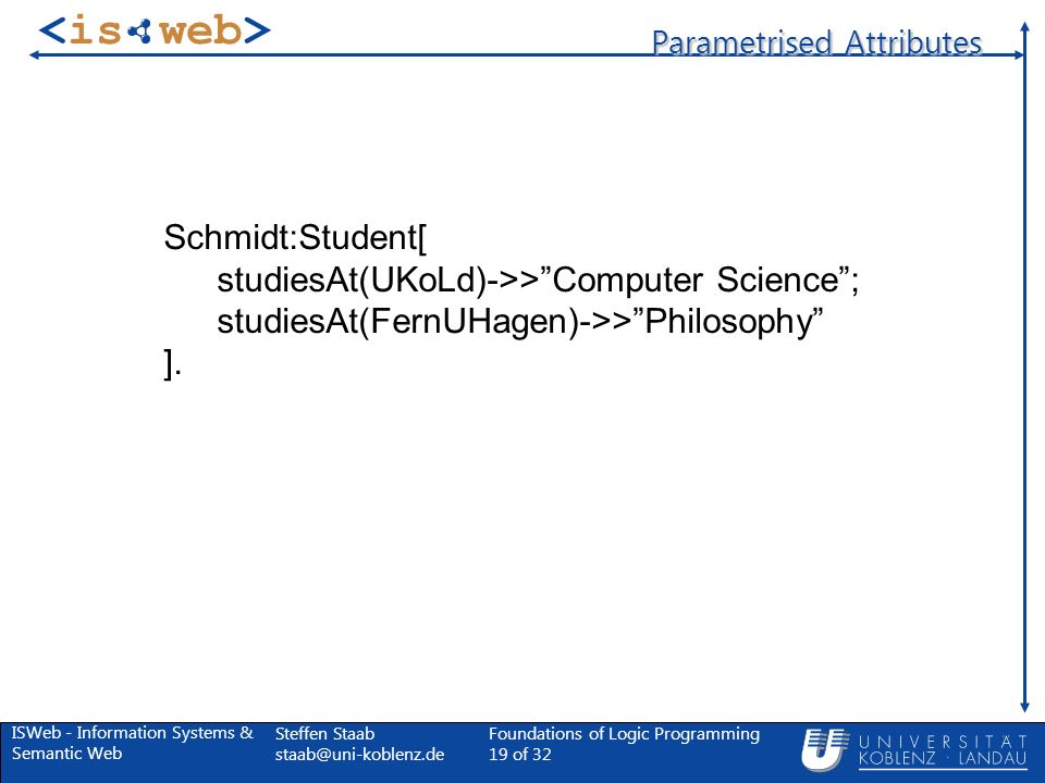 ISWeb - Information Systems & Semantic Web Steffen Staab Foundations of Logic Programming 19 of 32 Parametrised Attributes Schmidt:Student[ studiesAt(UKoLd)->>Computer Science; studiesAt(FernUHagen)->>Philosophy ].