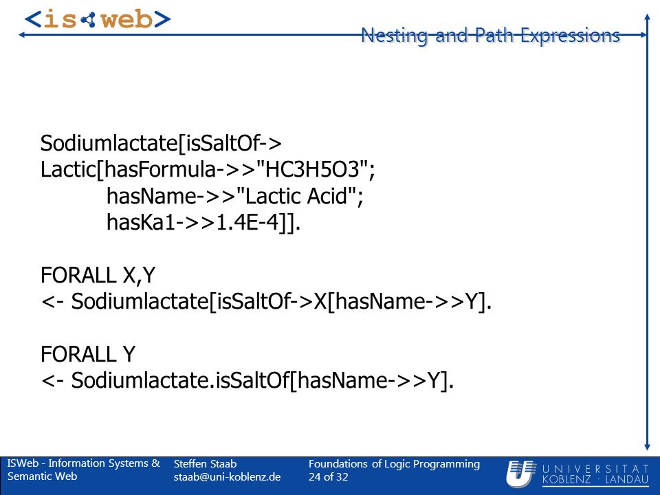 ISWeb - Information Systems & Semantic Web Steffen Staab Foundations of Logic Programming 24 of 32 Nesting and Path Expressions Sodiumlactate[isSaltOf-> Lactic[hasFormula->> HC3H5O3 ; hasName->> Lactic Acid ; hasKa1->>1.4E-4]].