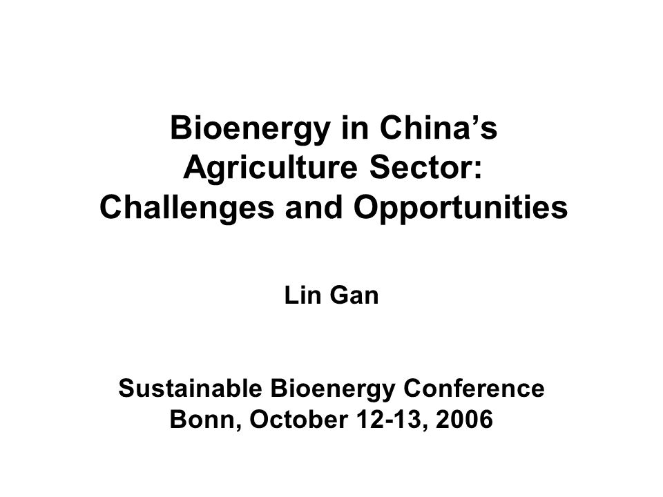Bioenergy in Chinas Agriculture Sector: Challenges and Opportunities Lin Gan Sustainable Bioenergy Conference Bonn, October 12-13, 2006