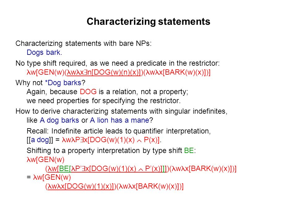 Characterizing statements Characterizing statements with bare NPs: Dogs bark.