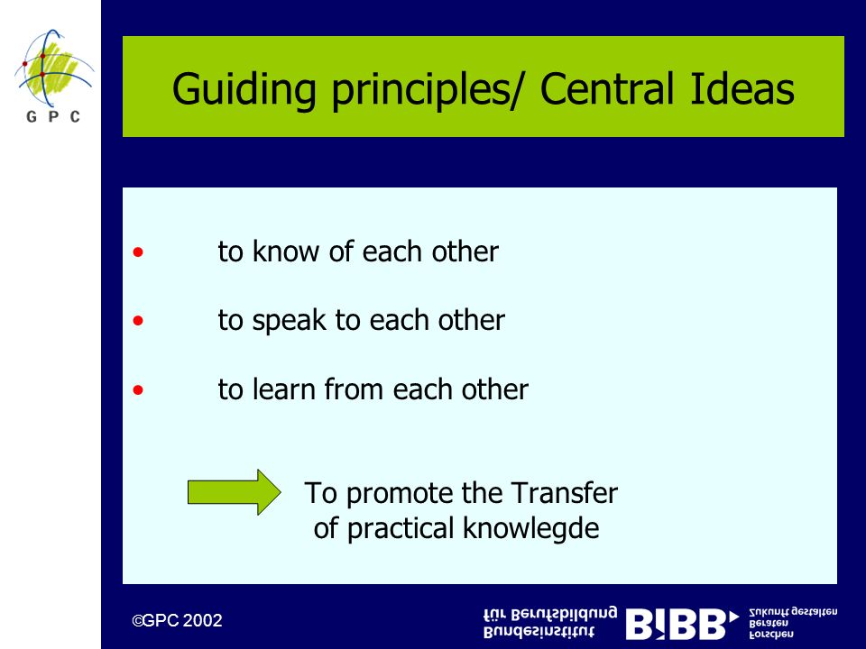 GPC 2002 Guiding principles/ Central Ideas to know of each other to speak to each other to learn from each other To promote the Transfer of practical knowlegde