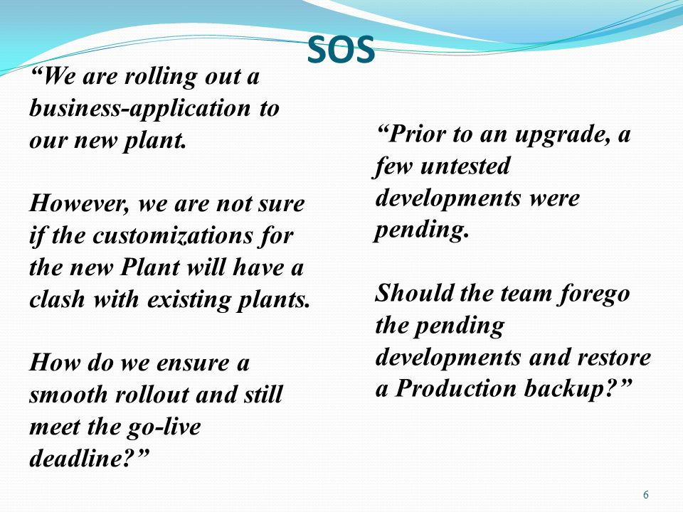 SOS 6 Prior to an upgrade, a few untested developments were pending.