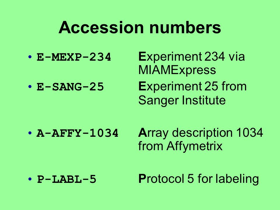 E-MEXP-234 Experiment 234 via MIAMExpress E-SANG-25 Experiment 25 from Sanger Institute A-AFFY-1034 Array description 1034 from Affymetrix P-LABL-5 Protocol 5 for labeling Accession numbers