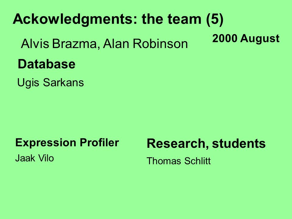 Ackowledgments: the team (5) Alvis Brazma, Alan Robinson Database Ugis Sarkans Expression Profiler Jaak Vilo Research, students Thomas Schlitt 2000 August
