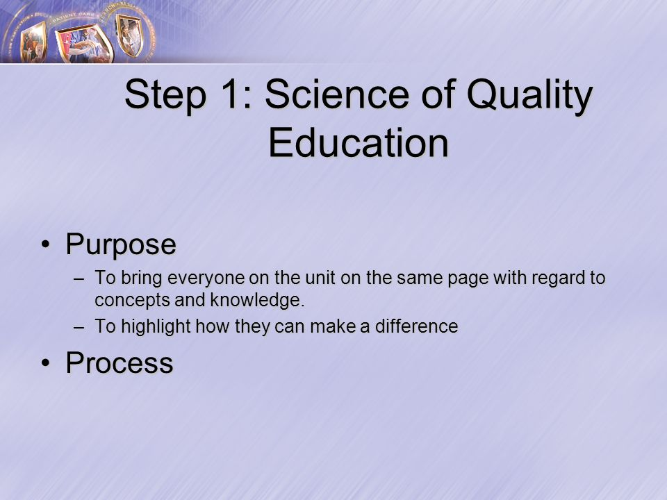 Step 1: Science of Quality Education PurposePurpose –To bring everyone on the unit on the same page with regard to concepts and knowledge.