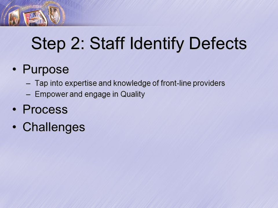 Step 2: Staff Identify Defects PurposePurpose –Tap into expertise and knowledge of front-line providers –Empower and engage in Quality ProcessProcess ChallengesChallenges